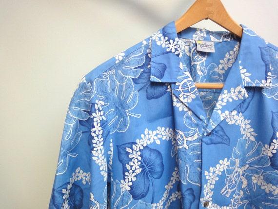 Vintage Royal Creations Hawaiian Shirt, Made in Hawaii, Sky Blue, Turtles, Lei, Monstera Leaves,  XL 1980s