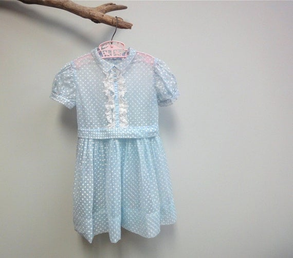 1940s Little Girls Dress, Swiss Dot Squares, Sheer Rayon Organdy, Pale Blue and White