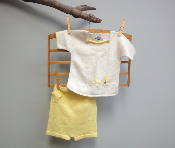 1960s Baby Boys I Magnin & Co. Knit Shirt and Short Set with Sail Boats and Ducky