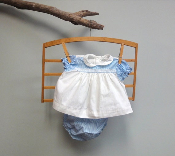 Vintage Baby Girl Dress, Diaper Cover Set, Infant, White and Blue Cotton, plastic panty