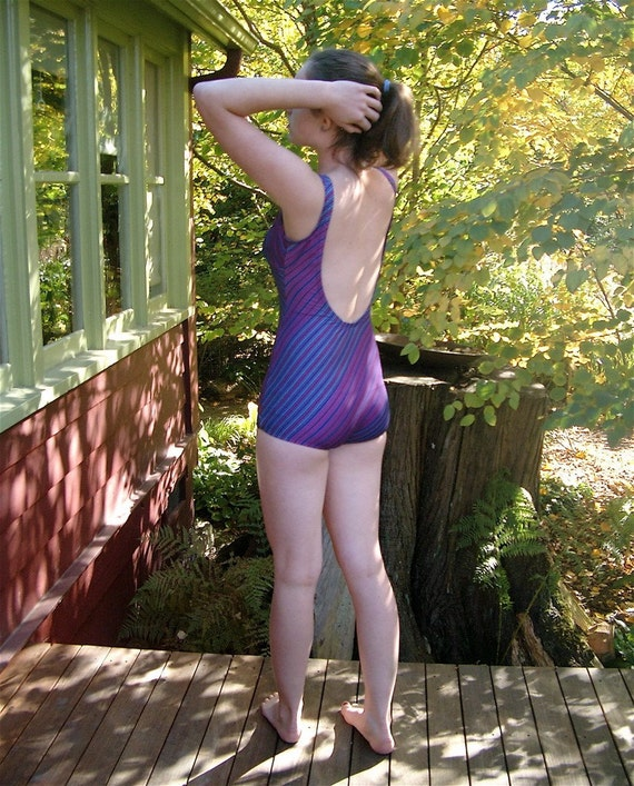 Vintage Jantzen Swimsuit Pin Up 1970s Navy Blue Pink Teal