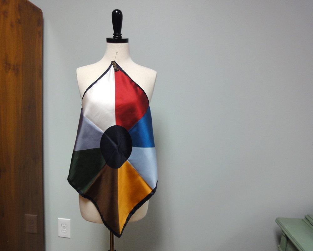 Vintage Italian Silk Scarf Mid Century Modern Color Block by  Vintage Italian Silk Scarves