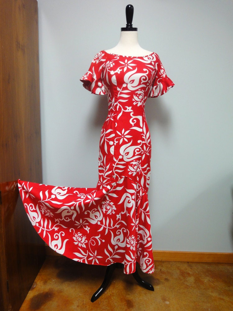 vintage hawaiian dress holoku long mermaid dress red and