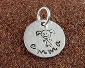 Little Girl Charm - Hand Stamped Sterling Silver