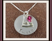 Ice Skating Pendant Sterling Silver Personalized Hand Stamped Ice Skating Jewelry with Name and Swarovski Crystal