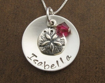 Sand Dollar Necklace - Sterling Silver Personalized Necklace with Sand Dollar Charm and Swarovski Crystal