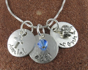 Three Names Sterling Silver Necklace with Choice of Charms and Swarovski Crystals