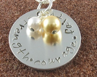 Strength Courage Faith Pendant with Crystal Pearls