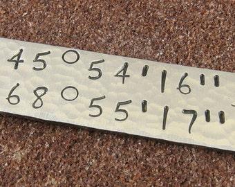 Latitude Longitude Pendant/Sterling Silver Hand Stamped Latitude Longitude Jewelry