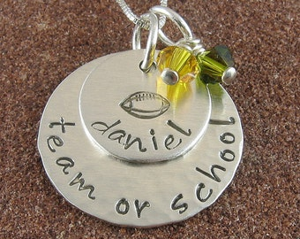 Football Necklace,Sterling Silver Hand Stamped Football Pendant with Any School/Team/Players Name and School/Team Colors