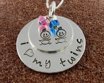 Twins Sterling Silver Jewelry I Heart my Twins Hand Stamped Pendant with Two Stick Figure Babies and Swarovski Birthstone Crystals