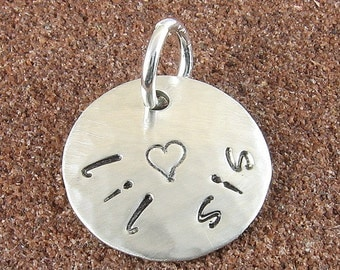 Lil Sis Sterling Silver Charm Hand Stamped with a Tiny Heart