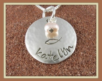 Ichthus Pendant- Sterling Silver Hand Stamped Personalized (with Any Name) Pendant with Freshwater Pearl