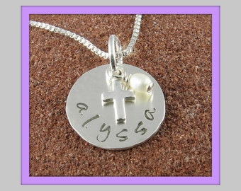 Baptism Holy Communion Christening Personalized Sterling Silver Lowercase Custom Pendant with Cross and Pearl or Birthstone Crystal