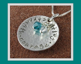 Strength Courage Faith Pendant/Sterling Silver Hand Stamped Hammered Jewelry with Swarovski Crystals