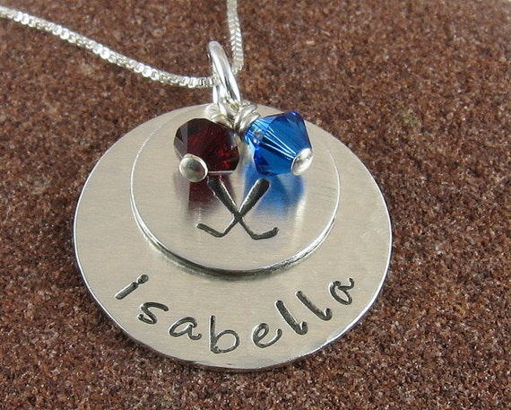 Hockey Pendant  Personalized with Team Colors in Sterling Silver and 14K Gold Filled