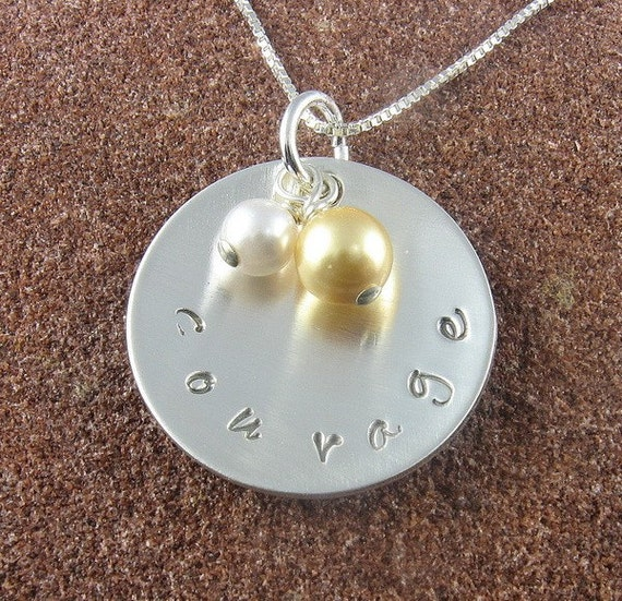 COURAGE PENDANT - Hand Stamped Courage Pendant with Swarovski Crystal Pearls-FREE WORLDWIDE SHIPPING