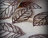 8 big filigree leaves charms silver
