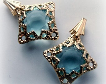 Pretty filigree ice blue faceted dangle charms