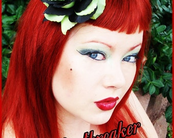 Lime Green and Black Rose with Glitter Skull Hair Accessory