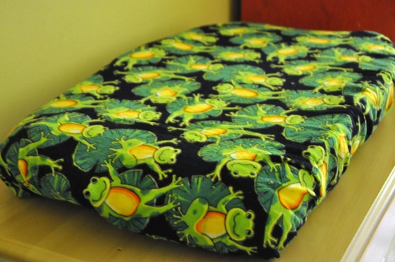 Lilly Pad and Frog Flannel Changing Pad Cover