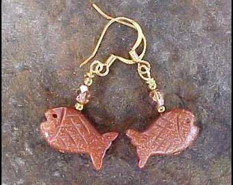 Goldstone Fish Lovers Fetish Earrings 0821g-0623s