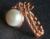 June Special - Wire Wrapped Ring - Freshwater Pearl - Solid Copper - Adjustable - Size 7 8 9 10
