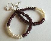 Teardrop Hoop Earrings - Natural Garnet - Freshwater Pearl - Asymmetrical - Poseable