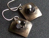 Diamond Shaped Gemstone & Pearl Earrings - Brushed Oxidized Sterling Silver