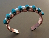 Turquoise & Pearl  - Adorned Copper Cuff - Unisex - Sterling Silver Accents