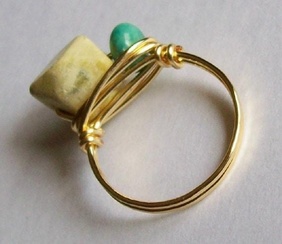 Two Tone Turquoise Gemstone Ring - Custom Sizes - Artisan Crafted
