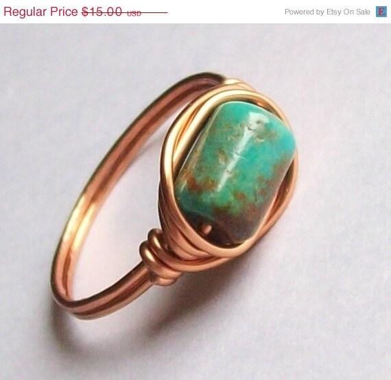 Arizona Turquoise - Wire Wrapped Gemstone Ring - Coated Copper - Custom Sizes