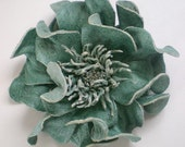 Leather Rose corsage, BlueGreen, made in Japan