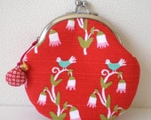 Round Coin Purse with a little shell charm- bird in red