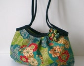 Zippered Japanese kimono Mini granny bag, Peony flower- Green