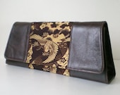 Clutch and shoulder leather and Kimono Obi bag- Vintage silk Crane in dark brown