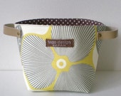 Fabric basket with leather handles, Optic blossom Yellow