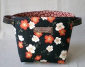 Fabric organizer basket with leather handles - Apricot blossom in black