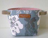 Fabric organizer basket with leather handles -Flower in blue grey