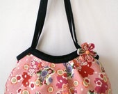 Japanese kimono Mini granny bag with flower brooch, Cherry blossom in Pink