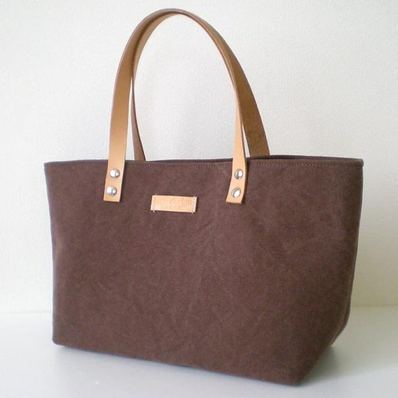 Mini canvas tote bag with leather straps in Brown