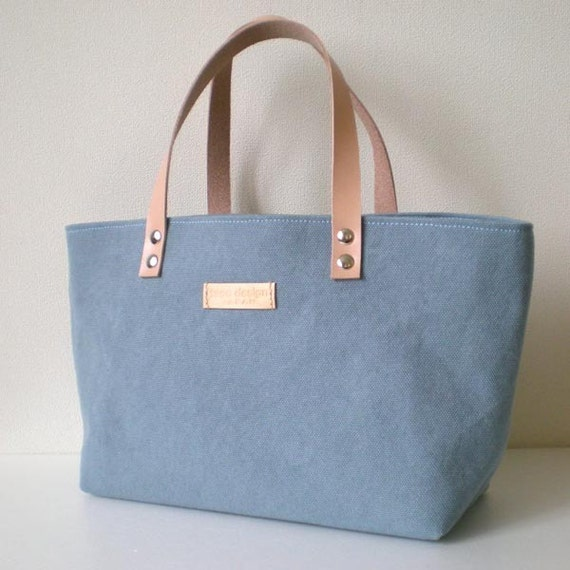 Mini canvas tote bag with leather straps in Wash Blue Flower