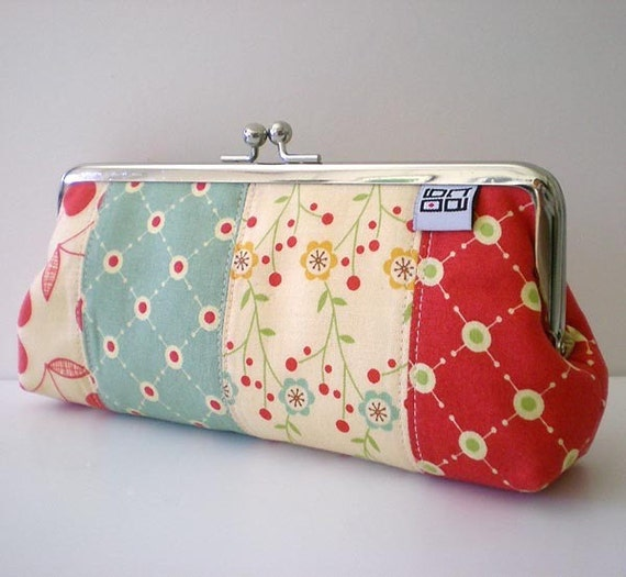 Patchworked Frame pouch, Sunglass / Eyeglass / Pens Case, Cherry and Flower