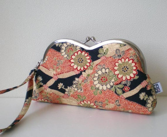 Framed Heart Pouch with wristlet strap, Quilted, Japanese Kimono pattern Floral in dark blue
