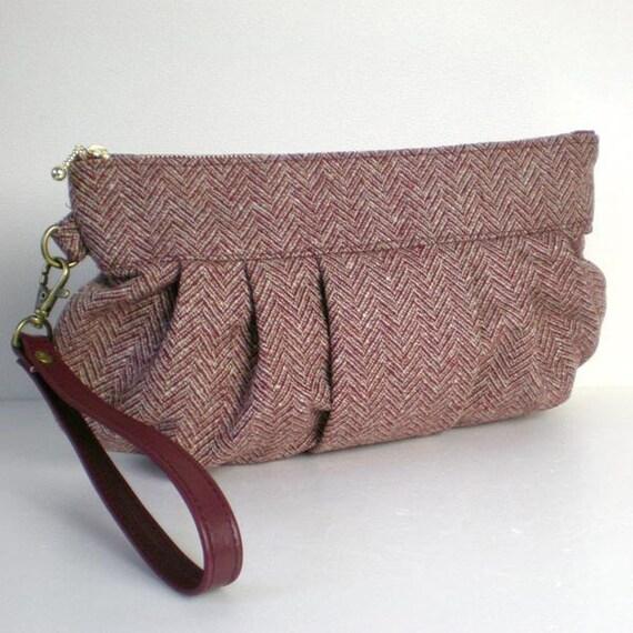 Herringbone Tweed Wool Wristlet Clutch bag with a leather strap, purple brown