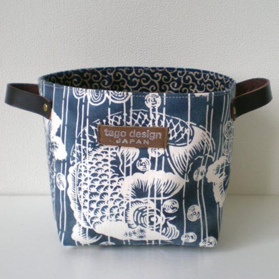 Fabric basket with leather handles, Koi fish in Navy