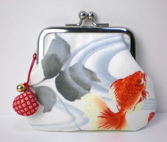 Coin Purse with a little shell bell, Goldfish in white