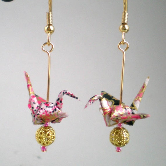 Japanese Origami Crane Earrings, Cherry blossom pink and black