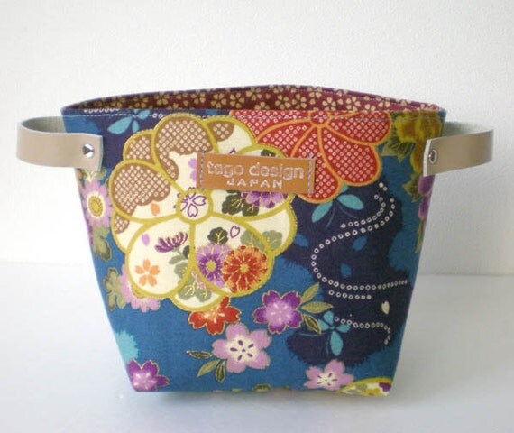 Fabric basket with leather handles - Kimono Flower in blue