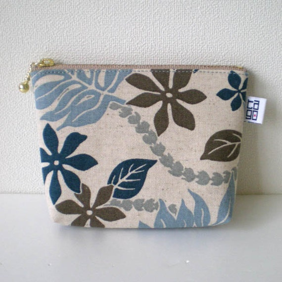 Zipper Pouch - Small,  Tropical leaves navy and brown
